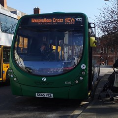 First Norwich 63320 is loading up on Castle Meadow while on route 15a to Wymondham Cross. - SK65 PXA - 1st April 2019 (Aaron Rhys Knight) Tags: firsteasterncounties firstnorwich greenline 63320 sk65pxa 2019 castlemeadow norwich norfolk first wrightbusstreetlite