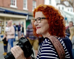 AShotFromtheCanon (Hodd1350) Tags: wimborne wimborneminster wimbornefolkfestival dorset canon photographer female woman stipes redhair spectacles leicaq