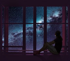 Just a dream (Ekaterina Toseva) Tags: photoshop photomanipulation edited autoportrait selfportrait expression emotional stars galaxy silhouette light window composite manipulation night dream dreamer astrology colors outer space dark