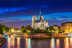 IMG_6819 - Notre-Dame de Paris in blue hour (AlexDROP) Tags: 2011 france europe paris travel color building city urban architecture cityscape bluehour river cathedral church landmark canon5d tamronspaf70300mmf4056divcusd best iconic famous mustsee picturesque postcard