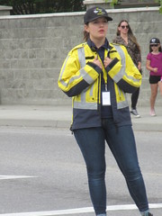 Traffic marshal (jamica1) Tags: rutland may days parade kelowna okanagan bc british columbia canada rcmp volunteer civilian traffic control