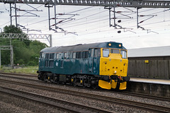 31128 - 0Z87 - Rugeley Trent Valley - 08.06.2019(2) (Tom Watson 70013) Tags: train railway br blue class31 31128 charybdis rugeley trent valley wcml 0z87 ped light engine station