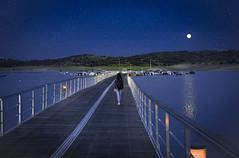 Walking blue (jcc90) Tags: caceres night blue walk water calm moon extremadura nikon d610