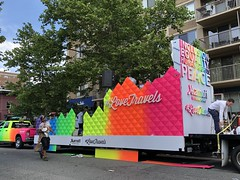#LoveTravels: Marriott International float setting up for Capital Pride parade, Washington, D.C. (Paul McClure DC) Tags: washingtondc districtofcolumbia june2019 dupontcircle people architecture gaypride