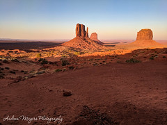 Sunset on The Mittens and Merrick Buttes, Monument Valley, Arizona (Andrea Meyers) Tags: 2018 organrockshale sunset sandstone theviewhotel arizona navajotriballands dechellysandstone monumentvalley cutlerformation june24 buttes