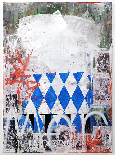 Zavier Ellis 'Blue Terror', 2019 Oil, oil bar, acrylic, house paint, spray paint, pencil, collage on birch ply 165x120cm
