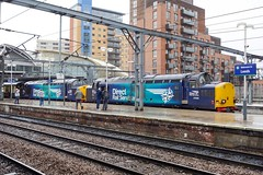 37 059 (left) and 37 038 on a Pathfinder at Leeds (Alun EH) Tags: class37 class370 drs directrailservices 37038 37059 pathfinderrailtours leeds leedsstation ee englishelectric br britishrail britishrailways train railway railroad