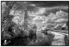Staffs Worcs canal at Cookley (spennells pensioner) Tags: 720nm infrared bw monochrome canal cookley worcestershire kidderminster factory steel countryside