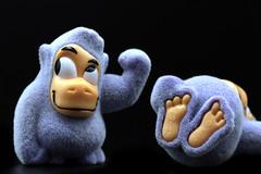 Macro Mondays...Childhood Toys (Sue Armsby) Tags: childhoodtoys macromondays macro feet purple gorilla toy eyes fur fun humour funny
