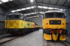 56049 and 47593 at Crewe Depot (Tom 43299) Tags: train creweheritagesidings locomotiveservices crewe creweopenday 56049 class56 colasrail 47593