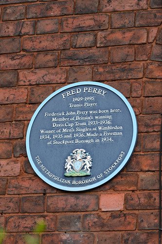 Fred Perry 1909-1995 tennis player Frederick John Perry was born here. Member of Britain's winning Davis Cup Team 1933-1936. Winner of Men's Singles at Wimbledon 1934, 1935 and 1936. Made a Freeman of Stockport Borough in 1934.