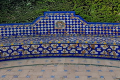 The blue bench (gerard eder) Tags: world travel reise viajes europa europe españa spain spanien städte stadtlandschaft street streetlife streetart city ciudades cityscape cityview andalucía sevilla park parque bench blue outdoor seats
