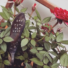 Metal Stamping (MDawny72) Tags: rose miniroses varigated aliceinwonderland silverware tarnished old offwithherhead creative artistic gardenart containergardening funky funkyjunk whimsicalgarden whimsy whimsical june 2019inphotos quotes moviequotes vintage antique maker