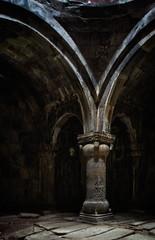 Amenaprkitch church gavit, 1181 (Tigra K) Tags: alaverdi lori armenia 2011 architecture carving ceiling church column cross dome floor interior medieval ornament ruin sanahin pattern arch on1