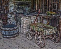Wagon Shop (AChucksEyeView) Tags: wagon old world wisconsin rustic wood blacksmith forge history vintage