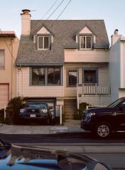 Sunset District, San Francisco, California (bior) Tags: pentax645nii pentax645 pentax 645 mediumformat 120 sanfrancisco sunsetdistrict portra160nc expiredfilm kodakportra house townhouse shadow truck pickuptruck toyota