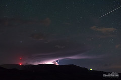 Lightning and Meteor (kevin-palmer) Tags: spring june night sky nikond750 story fetterman electric lightning storm clouds thunderstorm stormy bolt dark hills nikon50mmf14afd stars starry space astronomy astrophotography bighornmountains celltower red meteor shootingstar anvil wyoming composite