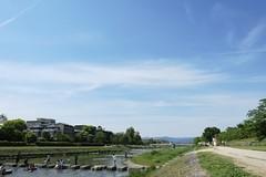 under the sky (ababhastopographer) Tags: kyoto kamogawa kamoriver earlysummer sky cloud 京都 鴨川 初夏 空 雲 wading bytheriver 水遊び 川辺