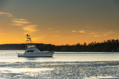 Sunrise River Waterscape and Boat (Merrillie) Tags: holidays sand landscape lemontreepassage water boats karuahriver newsouthwales nsw scenery river scenic portstephens outdoors waterscape hills tilligerrypeninsula australia bay