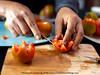 Vegetable Carving - Tomato Tulip (Bitter-Sweet-) Tags: vegan vegetarian food foodart carving decorative garnish art craft knifeskills thailand chiangmai fresh playwithyourfood fun workshop