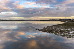 River Waterscape (Merrillie) Tags: sunset water clouds reflections river landscape boats outdoors bay sand scenery holidays scenic australia hills newsouthwales lowtide portstephens waterscape mallabula tilligerrycreek
