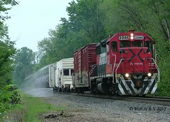 Running From The Border (R.G. Five) Tags: fex fxe gp38 mexico ferromex cp rail railroad weed spraying sprayer train track iowa clouds pilot ditch lights class boxcar what rwcx 106
