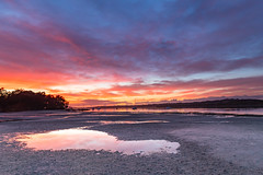 River Waterscape (Merrillie) Tags: daybreak holidays sand sunrise mallabula australia reflections hills lowtide newsouthwales clouds portstephens water scenery tilligerrycreek river colours scenic colourful outdoors waterscape landscape dawn bay boats