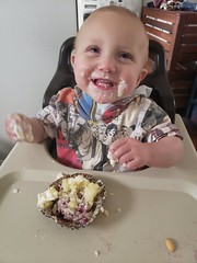 Birthday cupcake delight (quinn.anya) Tags: eliza baby cupcake messy eating birthday