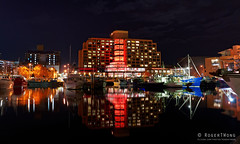 20190609-49-Red lit Grand Chancellor Hotel at Dark MOFO (Roger T Wong) Tags: 2019 australia darkmofo grandchancellor hobart rogertwong sel28f20 sony28 sonya7iii sonyalpha7iii sonyfe28mmf2 sonyilce7m3 tasmania victoriadock night red reflection water waterfront