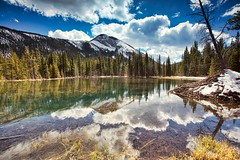 Blue Sky White clouds (John Andersen (JPAndersen images)) Tags: alberta beaver canada clouds golden kananaskis lake mountains reflections sky