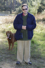 Leo and T-Bone (pacgrove) Tags: family leo people tbone dog golden retriever son