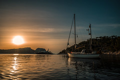 Sunset anchorage...... (Dafydd Penguin) Tags: superyacht sailboat sail boat sailing yacht yachting cruise cruising anchor anchorage vessel sun sunset sea water island greece saronic gulf angistri ketch hallberg rassy leica m10 21mm super elmar f34