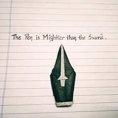 ORIGAMI - Pen is Mightier than the Sword ️✒️️ (Neelesh K) Tags: origami pen is mightier than sword paper folding black white color change neelesh k