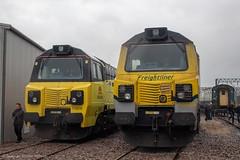 Colas Rail 70808 and Freightliner 70008 (Mike McNiven) Tags: freightliner freight colasrail colas crewe allchange dieseldepot locomotiveservices loco locomotive diesel