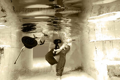 invisible magic to sleeping souls (Mau Silerio) Tags: underwater photography surrealism surreal surrealisme mask violin instrument hat music bird magic sony alpha meikon catrina