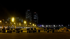 Have a rest (Fnikos) Tags: sea mar mare water waterfront seascape landscape sky skyscape cielo beach sand shore seashore light lights reflection tower towers torre torres pez peix fish pescado seat dark darkness shadow shadows architecture building design night nightview nightshot outside outdoor