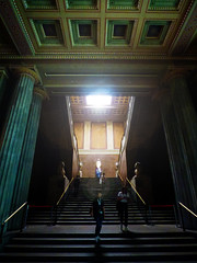 In the British Museum (Steve Taylor (Photography)) Tags: britishmuseum architecture museum column steps staircase stairs people women ladies uk gb england greatbritain unitedkingdom london glare glow perspective shadow