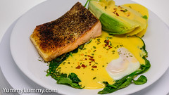 Pan-fried crispy skin salmon, steamed egg, wilted spinach leaves, and Hollandaise sauce. (garydlum) Tags: avocado egg eggs hollandaisesauce salmon spinach canberra australiancapitalterritory australia