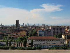 Milan from the south-west, view from Fondazione Prada. (in_ar23) Tags: city panorama cityscape view street morning summer people italy white milan building history church modern estate gente cathedral crane milano working via works pavia fondazioneprada wide architecture