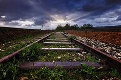 Dead-end Track 05_05_19 (Alessandro Dozer Fondaco) Tags: sonnino latina lazio italia italy ferrovia binario morto deadend track railway rails abbandono abandon abandoned abbandonato urbex urban exploration tramonto sunset luce light raggi sole sunbeam prospettiva perspective degrado decay nikon