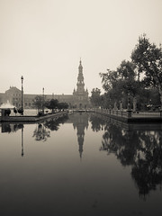 Plaza de Espana (Blueocean64) Tags: water architecture sevilla samyang light blackandwhite bw monochrome spring spain noiretblanc outdoor perspective panasonic g5 12mm andalusia 旅游 extérieur 欧洲 艺术 美丽 摄影 blueocean64 mist reflection