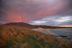 unexpected rainbow in the sunset (Sunshinenshadows) Tags: isleofharris sunset skies rainbow outerhebrides scotland beaches sea sky clouds