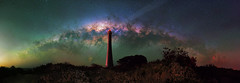 Milky Way setting over Guilderton Lighthouse, Western Australia (inefekt69) Tags: milky way guilderton moore river lighthouse cosmology southern hemisphere cosmos western australia dslr long exposure rural night photography nikon nikkor stars astronomy space galaxy astrophotography outdoor core great rift msice panorama ancient sky stitched 50mm d5500 hoya red intensifier filter ioptron skytracker tracked tracking mount didymium