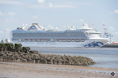 Crown Princess arriving in Liverpool. (alundisleyimages@gmail.com) Tags: cruiseliner crownprincess princesscruises liverpool wirral rivermersey tourism port maritime beach newbrighton seadefence groyen weather ship passengers lowtide industry travel arrival rocks