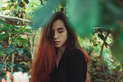 self portrait (isysaur_) Tags: girl green grass trees people portrait photography photoshop nikon nature naturaleza outside outdoor modeling makeup moody beautiful contrast colour artistic woman retrato hair redhead black bloom light lightroom landscape