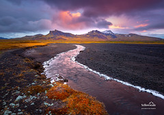 Snæfellsjökull (nybblr) Tags: winter iceland fall autumn natinonalpark winding river jetty peninsula mountains snow sunset clouds sky travel