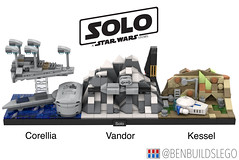 "Lego Star Wars - ""Solo"" Skyline MOC (BenBuildsLego) Tags: millennium falcon micro lego legos microscale scale han solo movie star wars story vandor kessel mine mines mountain snow train heist destroyer corellia chewbacca ship space cool moc render 3d bricks brick benbuildslego"