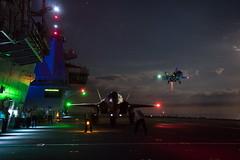 Fighter jets begin night flights on HMS Queen Elizabeth (QEClassCarriers) Tags: trials night equipment aircraft combat f35b lightningii jointstrikefighter jsf royalnavy ship carrier cvf queenelizabethclass qeclass hmsqueenelizabeth r08 decktrials unitedstatesofamerica