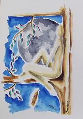 la civetta (dndnalfredo) Tags: civetta luna donna albero foglia nudo