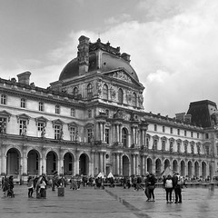 Clearing skies over the Louvre (csobie) Tags: bronicasqa 80mmf28ps mediumformat film analog 120 6x6 tmax400 kodak k2 yellowfilter scan epson v600 louvre museum france paris travel city blackandwhite
